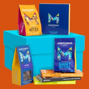 Buy him the Over the moon chocolate gift box from montezumas