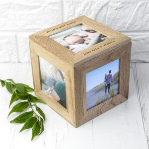 Buy her this personalised oak cube photo frame