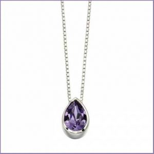 Buy her this Sterling Silver Swarovski Teardrop Slider Tanzanite Pendant