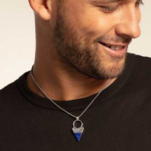 Buy him this Thomas Sabo silver and sky blue triangle pendant for this anniversary gift