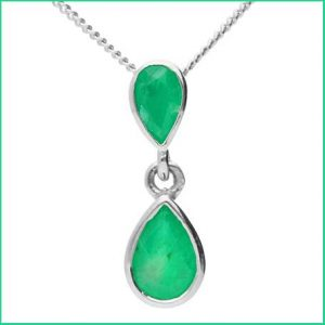 Buy her this double drop emerald pendant for this anniversary gift