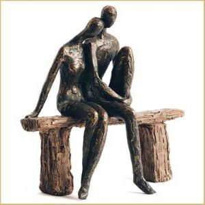 Buy her the Harmony Couple on Bench Sculpture in Bronze Finish