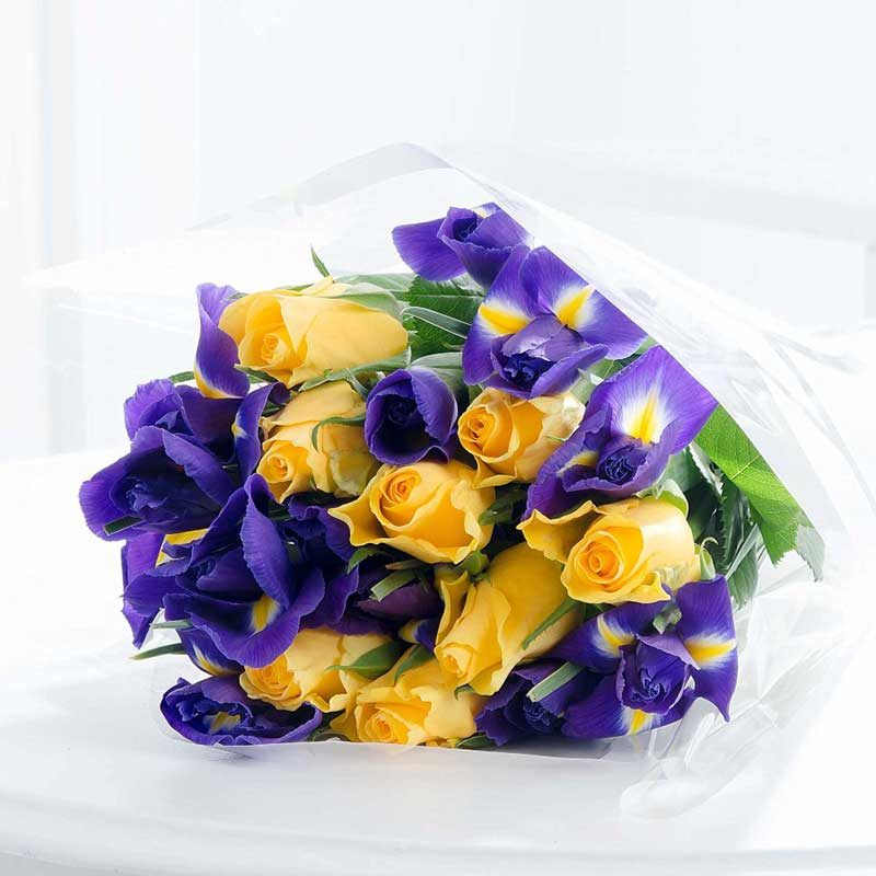 Buy her or the couple this beautiful bouquet of iris and gold roses for their 25th wedding anniversary