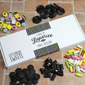Buy him these Personalised Liquorice - Letterbox Sweets