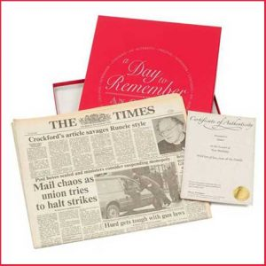 Buy them an anniversary newspaper from the day they got married, perfect gift