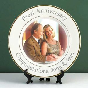 Buy this Personalised Pearl Wedding Anniversary Photo Plate for their anniversary gift