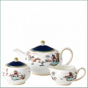 Buy them the Wonderlust Blue Pagoda 3 Piece Set, beautiful bone china set for this anniversary gift