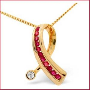 Buy her this 9K Gold 0.02ct Diamond 0.33ct Ruby Pendant for the 40th wedding anniversary gift