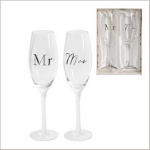 Buy them the AMORE BY JULIANA® Champagne Flute Set - Mr & Mrs for this anniversary gift