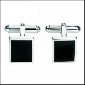 Buy him these black Agate rectangular cufflinks for this anniversary gift