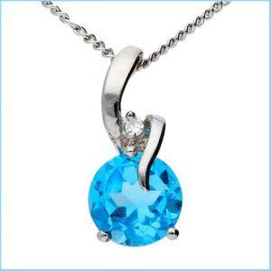 Buy her 9ct White Gold Sky Blue Topaz & Diamond Pendant on this anniversary