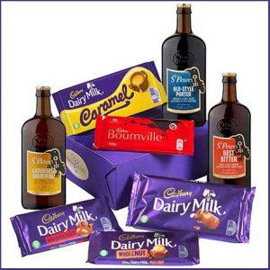 Buy him the Cadbury Bars & Beers Hamper for this anniversary gift