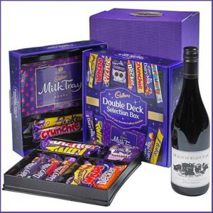 Buy him the Cadbury Selection Box & Red Wine Gift for this anniversary gift