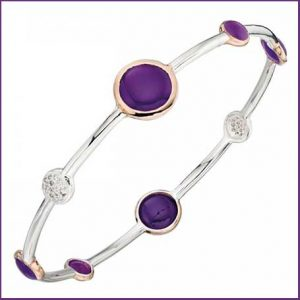 Buy her this Elements Silver Purple Agate Bracelet for the 39th wedding anniversary gift