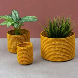 Buy her these Raffia Storage Potsin, Yellow for this anniversary gift