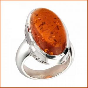 Buy him the Beginnings Sterling Silver Large Amber Ring for this anniversary gift