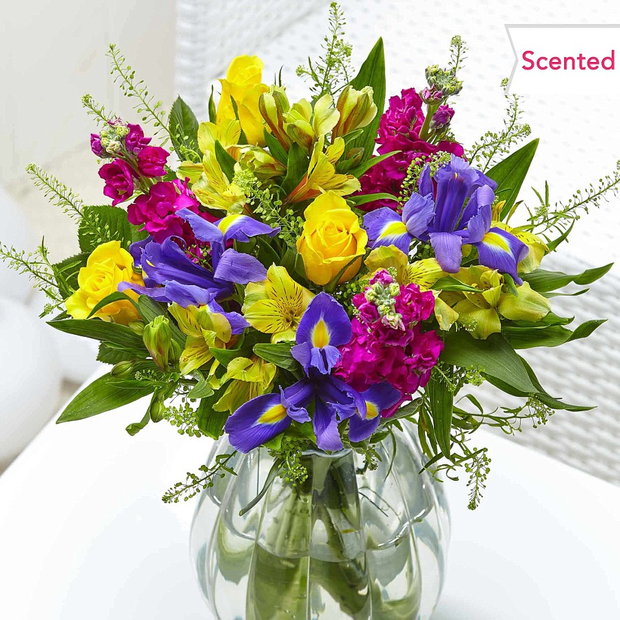 The scented summer glow bouquet makes a great colourful anniversary gift