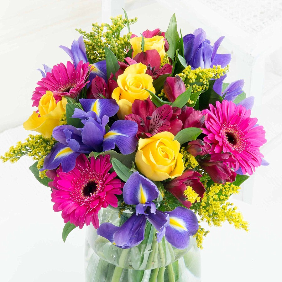 The vibrant celebration bouquet makes the perfect floral gift for this anniversary