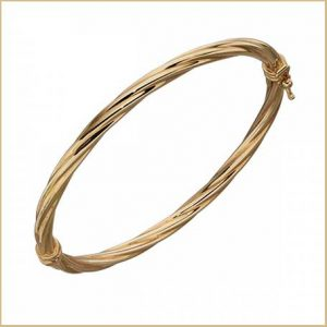 Buy her this Yellow Gold Twist Bangle Bracelet  for this anniversary gift