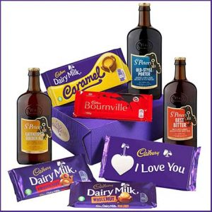 Buy him the I Love You Cadbury bars and beer gift for this anniversary