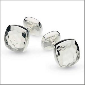 Buy him these Kit Heath Domed Square Hammered Hallmarked Cufflinks for this anniversary gift
