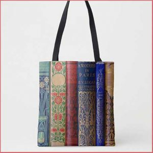 Buy her this book spine tote bag for this anniversary gift