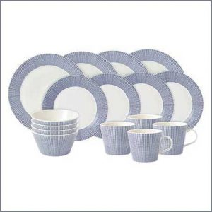 Buy them the Pacific Blue Dots 16 Piece Dinner Set for the 1st anniversary gift