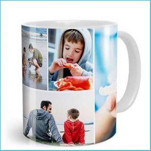 Buy him a personalised collage photo mug for this anniversary gift