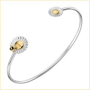 Buy her this Sterling Silver Bee Flower Torque Bangle for an anniversary gift