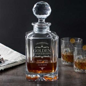 Buy them this Personalised Golden Anniversary Square Crystal Decanter gift