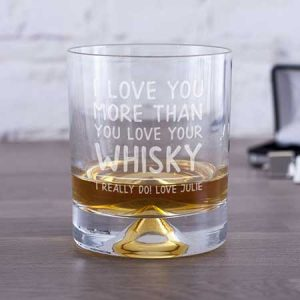 Buy him this Personalised I Love You More Than Whisky Tumbler for his anniversary gift
