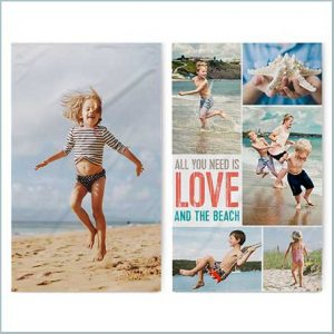 Buy her a personalised beach towel with your own photos for this anniversary gift