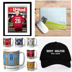 Buy him a personalised sport gift, maybe a team mug, golf hat or a framed picsture for this anniversary gift