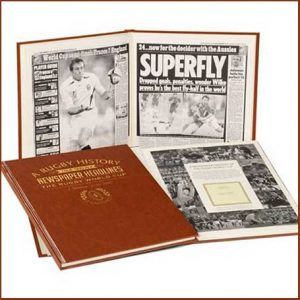 Buy him the Rugby World Cup Newspaper Book for this anniversary gift