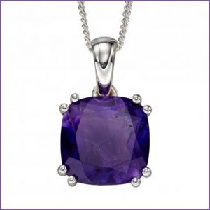 Buy her this Sterling Silver Amethyst Cushion Pendant on this anniversary