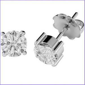 Buy her these White Gold Diamond Round Cut Earrings for this anniversary gift