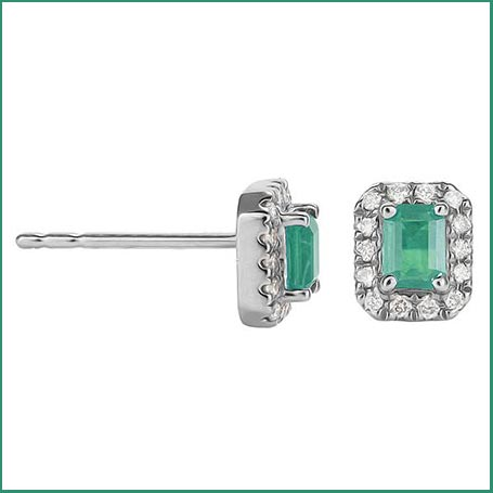 Buy her these emerald and diamond halo cut earrings for this anniversary gift