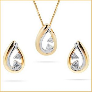Buy this 9ct Yellow Gold 0.08cttw Diamond Open Pear Shaped Set for her anniversary gift