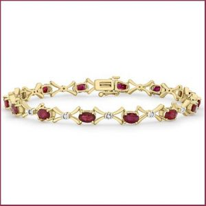 Buy her this beautiful gold ruby and diamond bracelet for this anniversary gift
