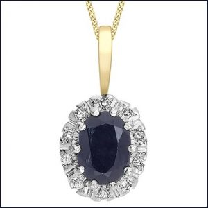 Buy her this Sapphire & Diamond Cluster Pendant for this anniversary gift