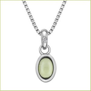 Buy her this silver and peridot pendant for this anniversary gift