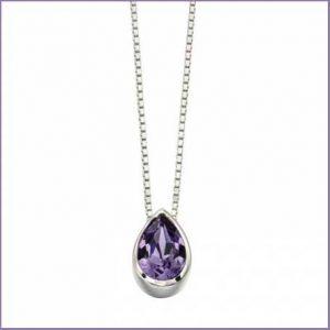 Buy her this Sterling Silver Swarovski Teardrop Slider Tanzanite Pendant for this anniversary gift