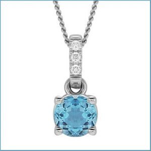 Buy her this Topaz & Diamond pendant for this anniversary gift