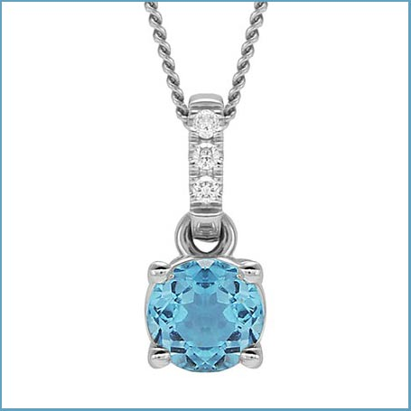 Buy her this topaz and diamond round pendant for this anniversary gift