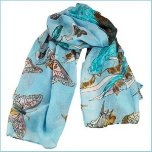 Buy her this Butterfly & Birds Animal Print Sky Blue Lightweight Women's Shawl Scarf for this anniversary gift