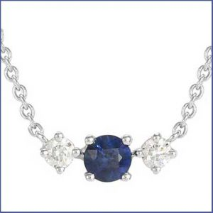 Buy her the Carrington 18ct White Gold Sapphire & Diamond Single Cluster Necklace for this anniversary gift
