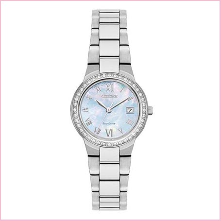 Buy her an Opal faced coloured citizens dress watch for this anniversary gift.