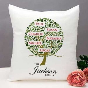 Buy them Family Tree Personalised Cushion for this anniversary gift