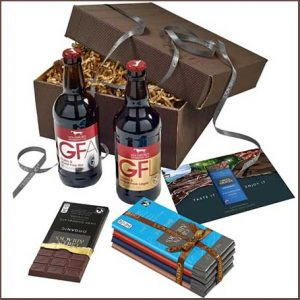 Buy him the Five Green & Black's chocolate bars. Alongside are two award winning bottles of Hambleton Ales for this anniversary gift