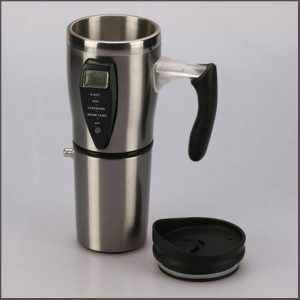 Buy him the heated travel mug for this anniversary gift includes a car charger and a non-spill lid!